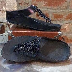 Fitflop navy beaded flip flops